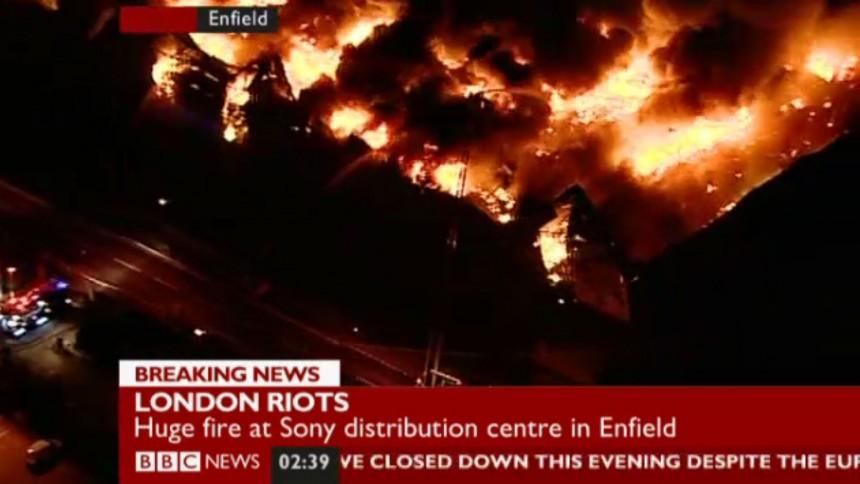 Skivor brinner i London