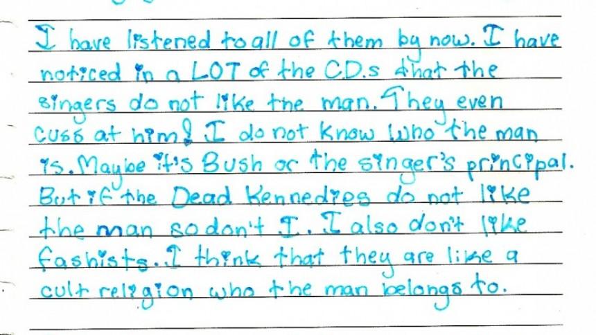 Femteklassare upptäcker punken – skriver urgulligt dagboksinlägg
