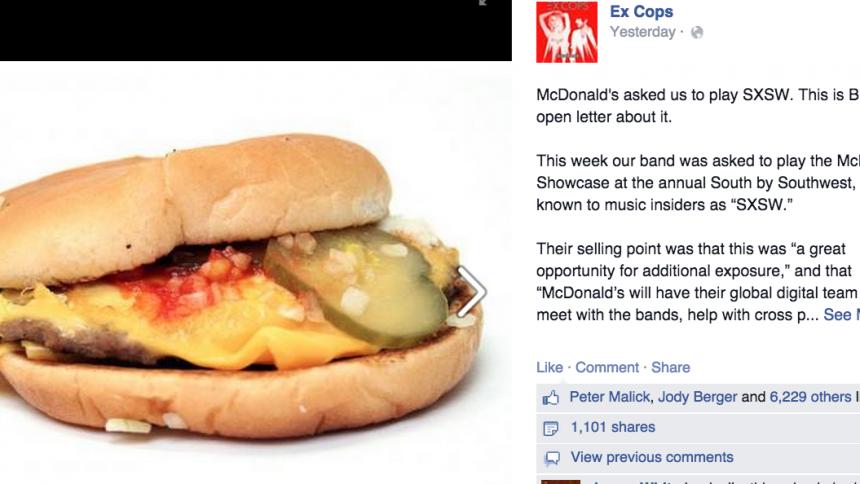 McDonald's bad indieband spela utan ersättning – fick svar på tal