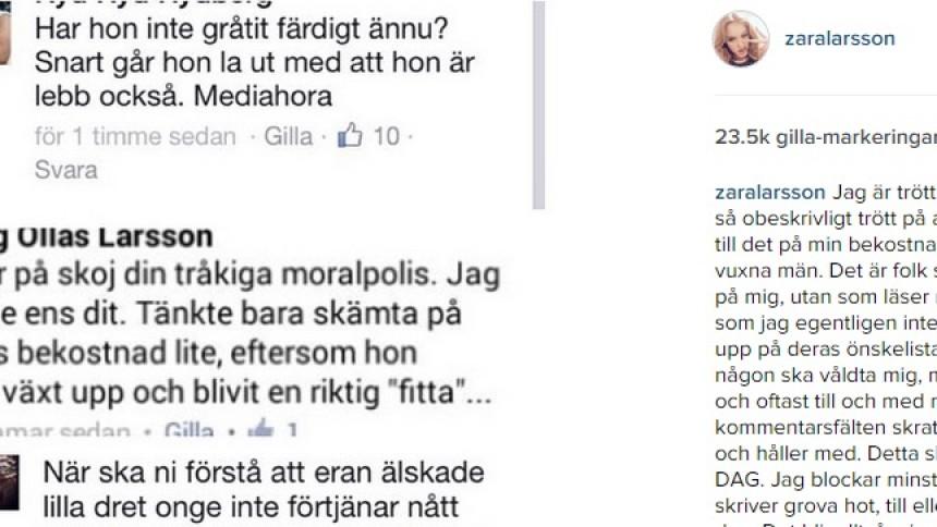 Zara Larsson har fått nog av hatet – läs hennes brandtal