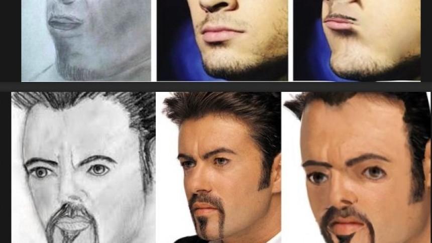 Hysteriskt kul när popstjärnor mixas med hemska porträtt