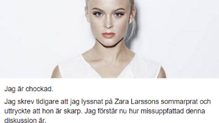 Facebookstatus om Zara Larsson närmar sig svenskt rekord