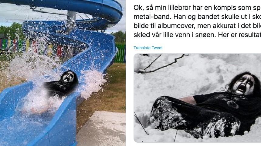 Black metal-kille snubblar i snön – och folk går Photoshop-bananas